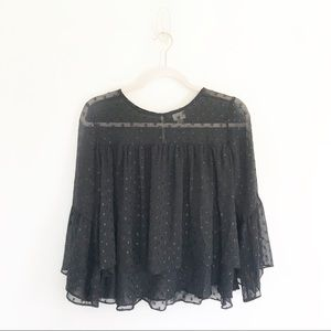A New Day Black Ruffle Sleeve Polka Dot Blouse